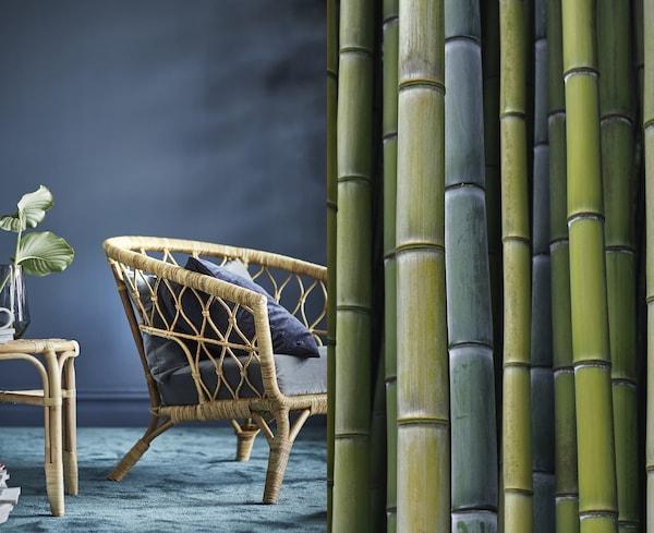 To bilder i ett: et bord laget av bambus på den ene siden og bambus i forskjellige sjatteringer av grønn på den andre.