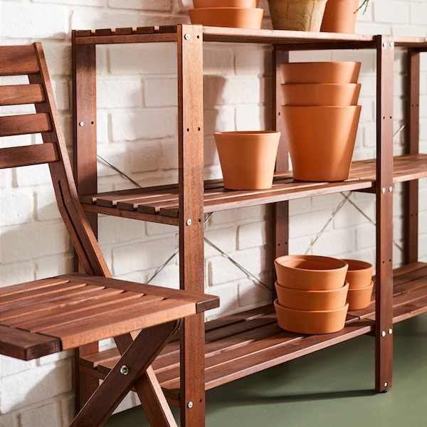 TORDH shelving unit, outdoor 140x35x90 cm brown stained