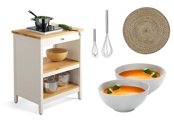 TORNVIKEN Kitchen island Was $299 $239. PÅBJUDA Whisk $399/set of 2. BLANDA MATT serving bowl $16.99. SNOBBIG place mat $3.99.IKEA 365+ bowl $3.99.