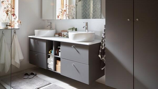 idées pour décorer salle de bain avec vanité ouverte
