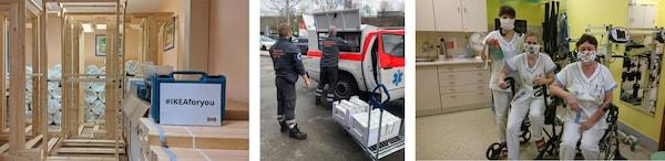 Tři obrázky: 1. zleva ukazuje IKEA výrobky v Nemocnici Motol, 2. zaměstnanci Červeného Kříže nakládají do záchranky IKEA výrobky, 3. zaměstnanci nemocnice s rouškami ušitými z látek IKEA.