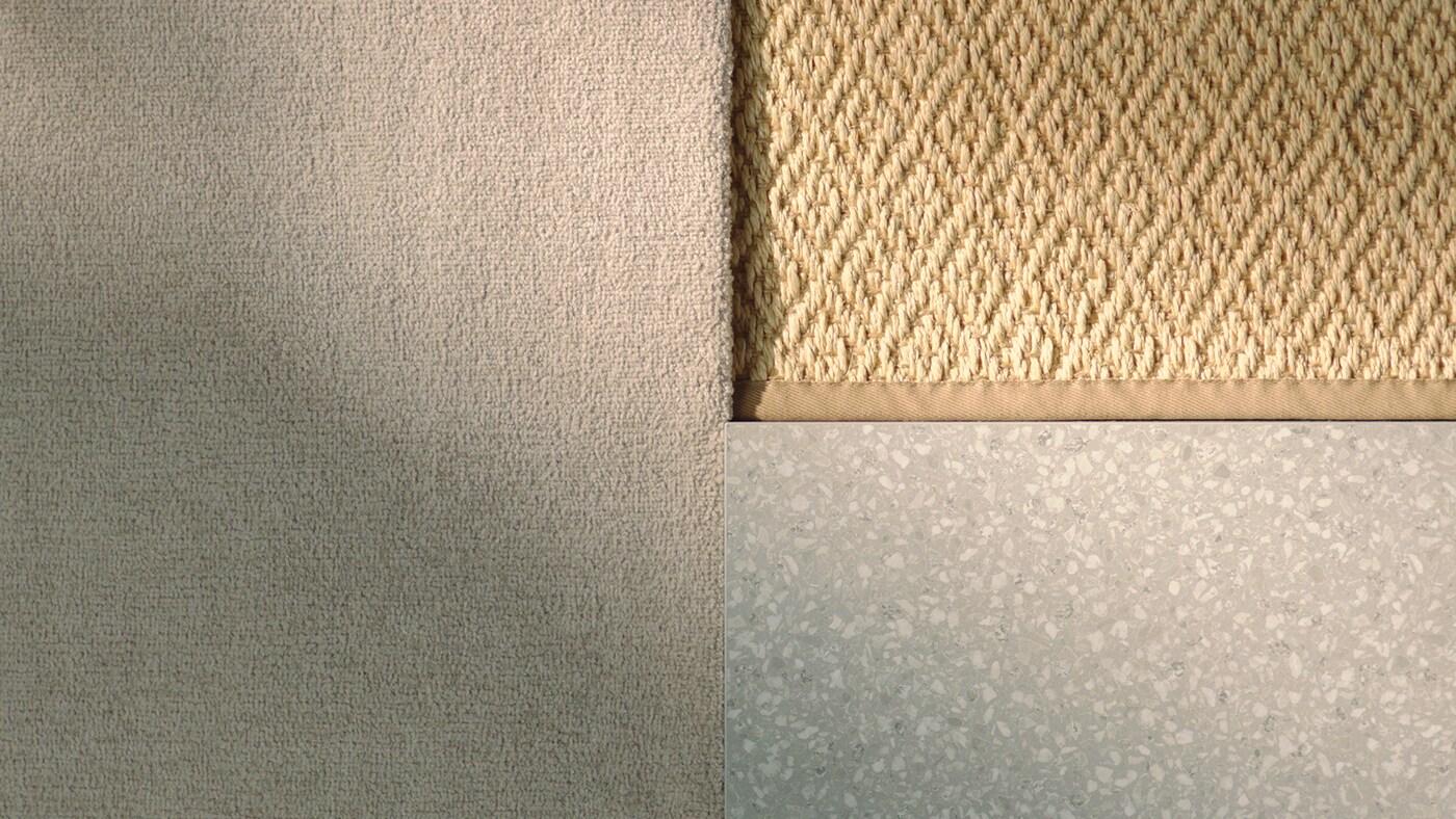 Три різні види матеріалів бежево-сірого кольору із асортименту аксесуарів для дому, розкладені у прямокутній формі.