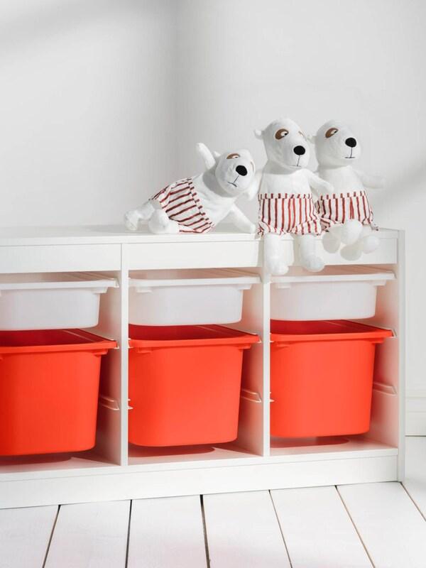 TROFAST Kinderzimmeraufbewahrung in weiß mit orangenen Boxen