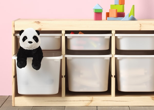 TROFAST toy storage series boxes with a toy panda.