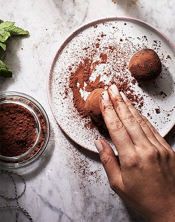 truffes au thé à la menthe /cacao