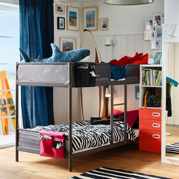 TUFFING Bunk bed frame, dark grayTwin