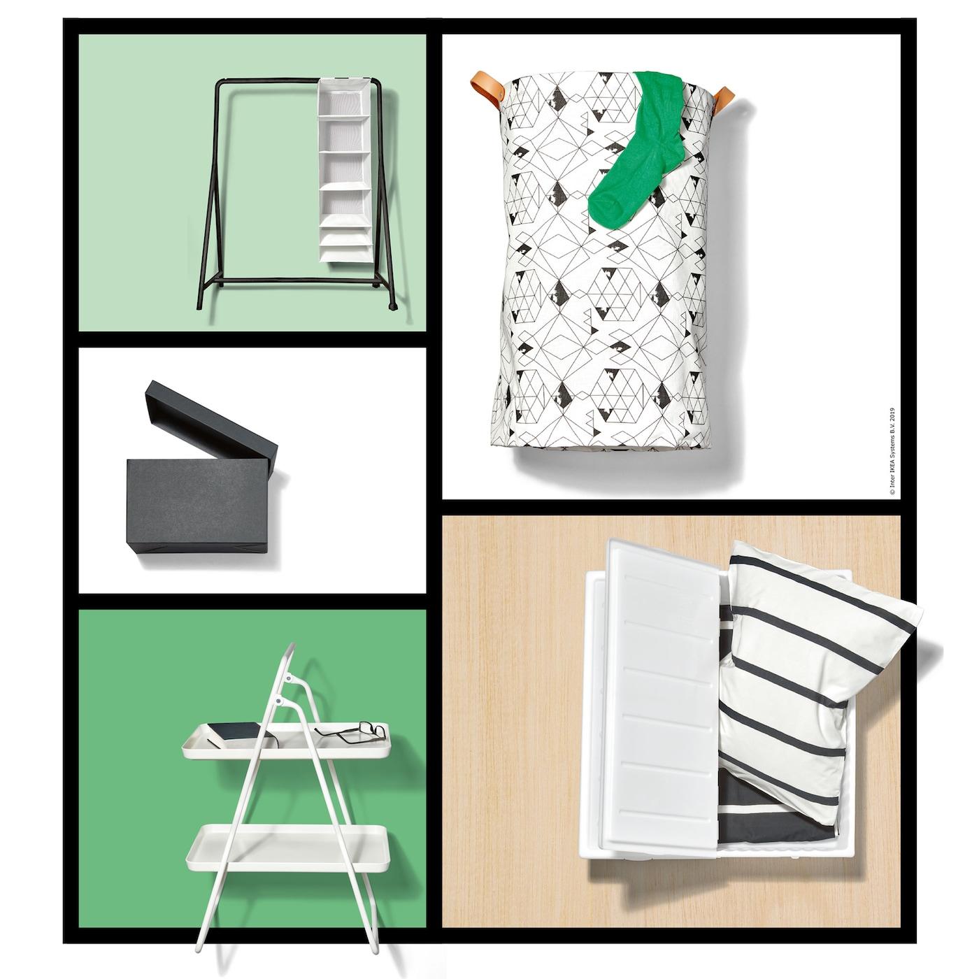 TURBO Kleiderständer und SKUBB Aufbewahrungsboxen