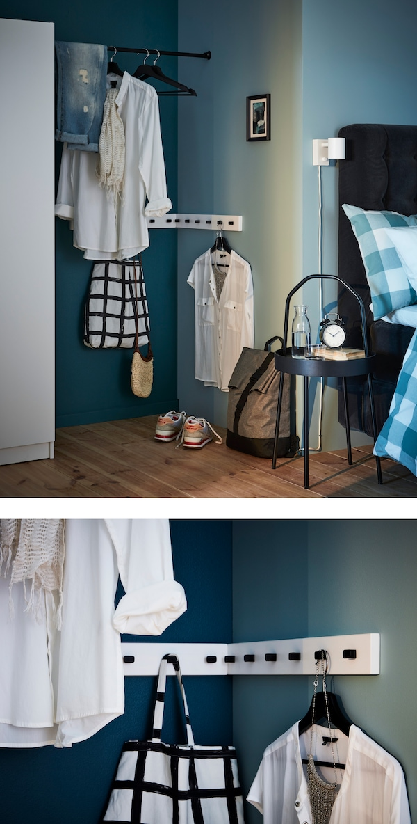 Turn that impossible space between closet and corner into your personal changing nook. Hang clothes, dress up and more.