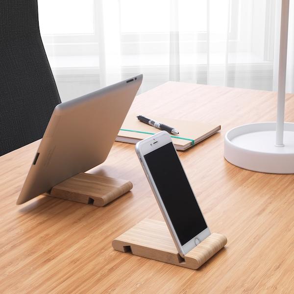 Twee BERGENES houders met een tablet en een mobiele telefoon