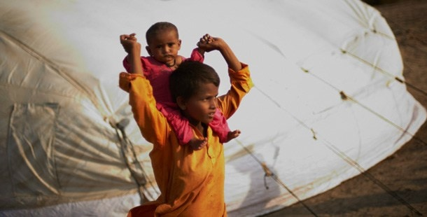 Two children at a refugee camp