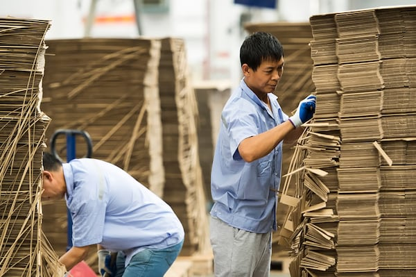 Two factory workers wearing light blue shirts are checking stacks of cartons. They are wearing gloves.