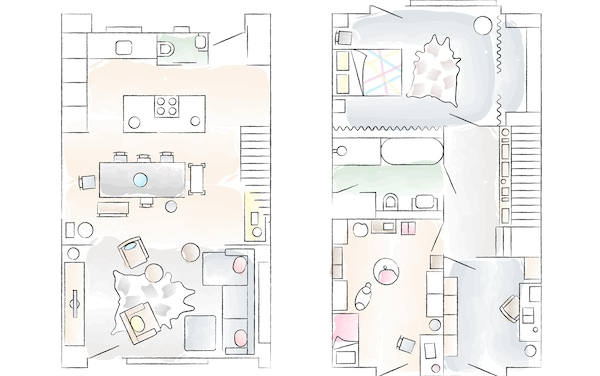 Two floorplan sketches of Jerzy and Anna's home.
