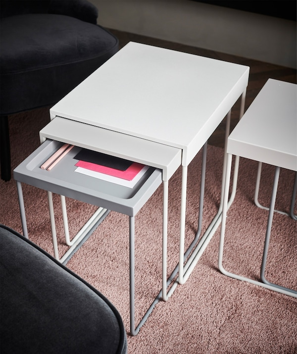 Two GRANBODA nest of tables which are useful for storage, display and decoration.