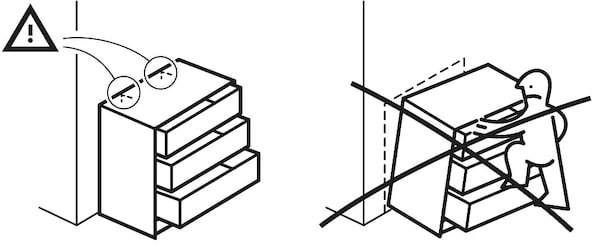 Two illustrations, the first shows a drawer secured to the wall and the other the risk of tipping if the drawer is climbed on.