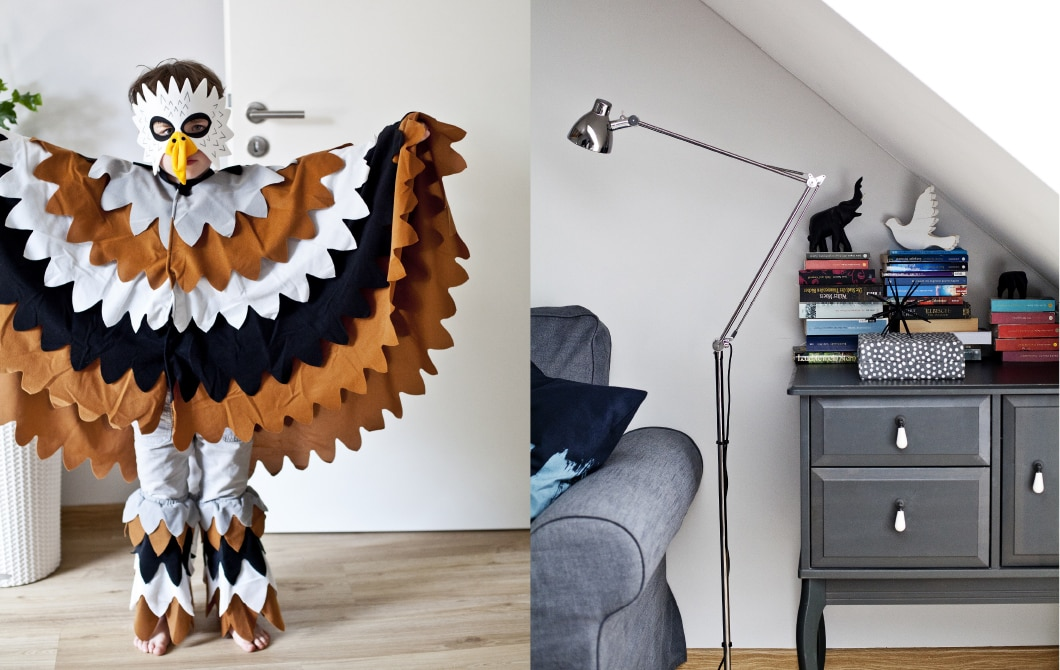 Two images side-by-side: a child in fancy dress as a bird and a living room corner with floor lamp and grey cabinet.
