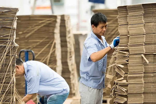 Two men diligently sorting through stacks of cardboard boxes at an IKEA supplier.