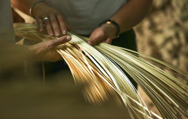 Two people holding strips of raw bamboo.