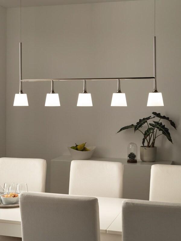 TYBBLE LED pndnt lmp w 5 lmp nick-plt/opalwhi gls