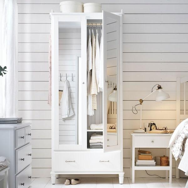 TYSSEDAL armoire-penderie, blanc/verre miroir, 34 5/8x22 7/8x81 7/8