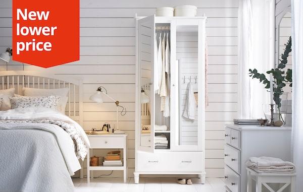 TYSSEDAL Wardrobe, white, mirror glass, 88x58x208 cm