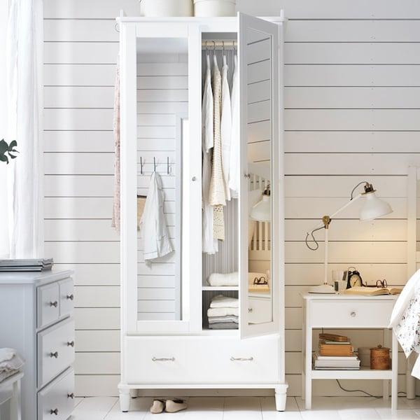 TYSSEDAL wardrobe, white/mirror glass34 5/8x22 7/8x81 7/8