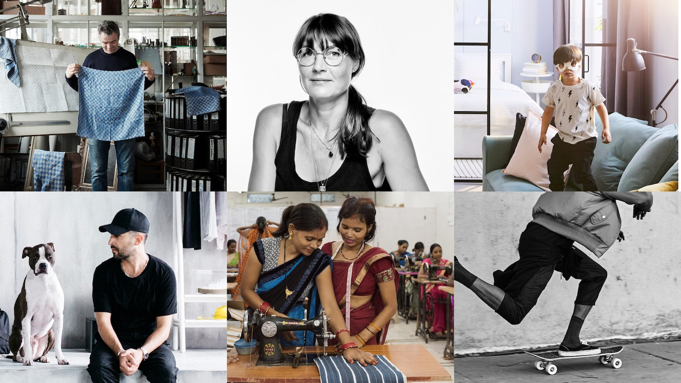 Uma composição de seis imagens, que mostram as marcas e os designers com quem a IKEA colaborou durante o ano de 2018.
