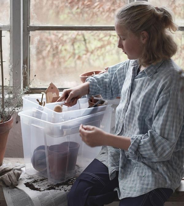 Uma jovem numa estufa a retirar uma divisória com consumíveis para jardinagem, de uma caixa SAMLA transparente.