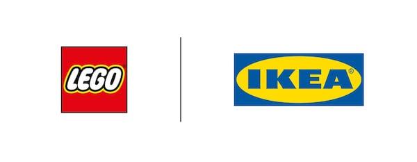 Umieszczone obok siebie logotypy LEGO oraz IKEA, rozdzielone czarną linią.