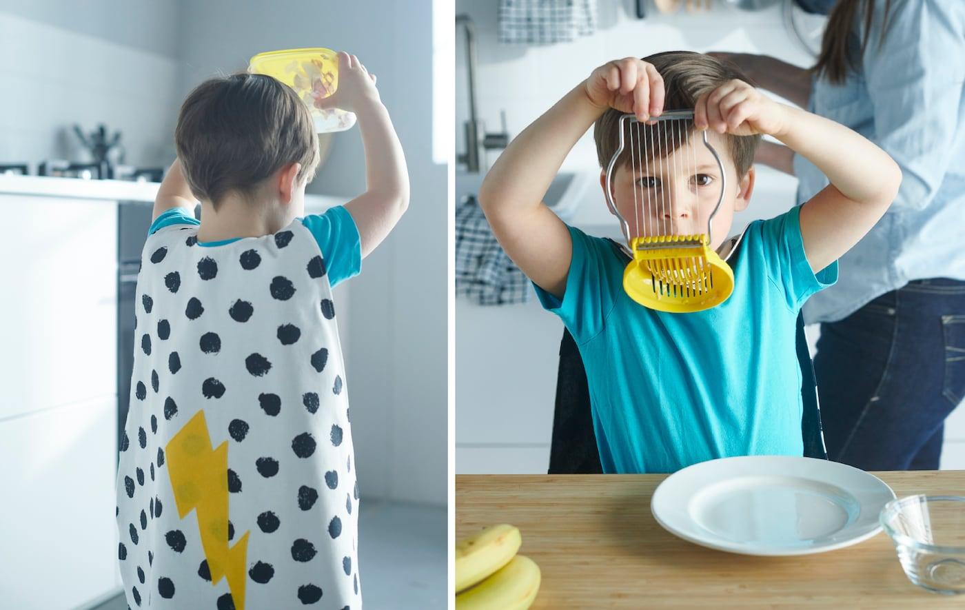 Un bambino si diverte a sbucciare l'aglio scuotendo un contenitore di plastica - IKEA