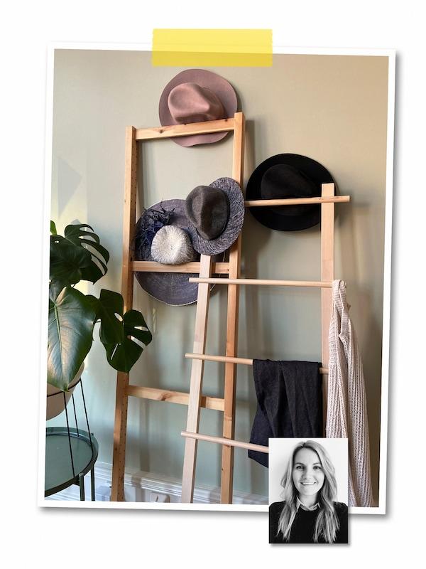 Un collage de deux images: des chapeaux et des accessoires sur un porte-serviettes VILTO posé contre un mur et le portrait d'une collaboratrice IKEA.
