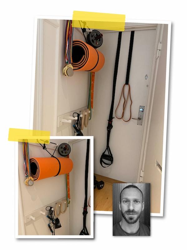 Un collage de trois images: de l'équipement de sport et un tapis de yoga accrochés derrière une porte et le portrait d'un collaborateur IKEA.