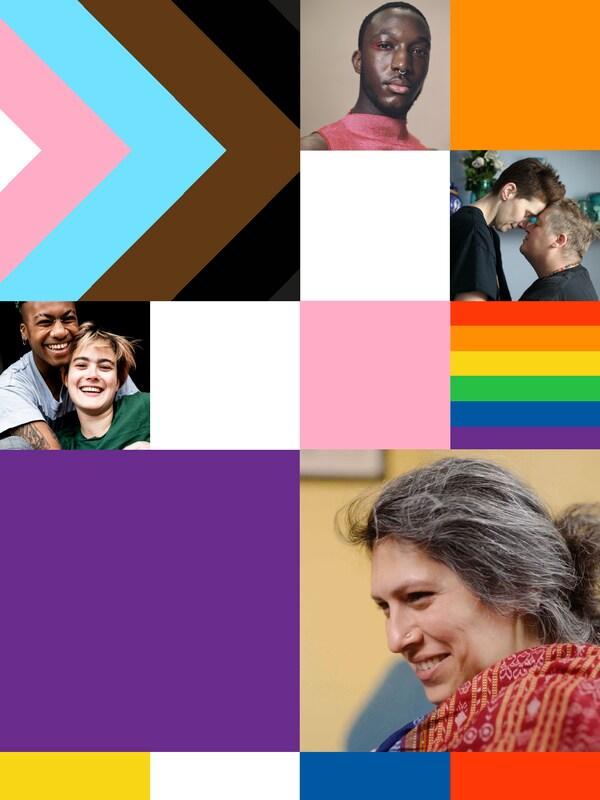 Un collage di immagini ed elementi grafici che rappresentano l'inclusione LGBT+, con foto della comunità LGBT+ e la bandiera del progresso.