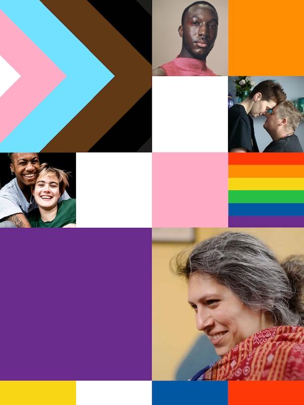 Un collage d'images et d'éléments graphiques représentant l'inclusion 2SLGBTQ+, avec des photos de personnes de la communauté LGBT+ et du drapeau du progrès.