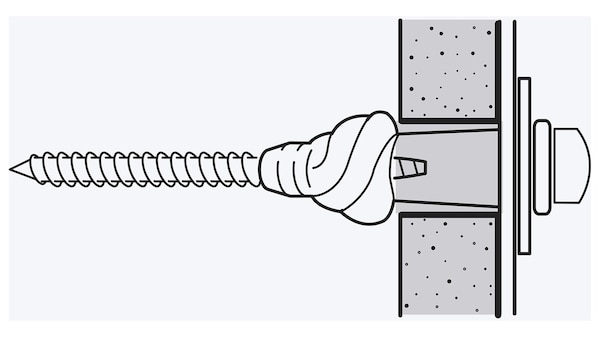 Un croquis d'une vis à l'intérieur d'une cheville qui a été vissée dans un mur fait d'un matériau comme un panneau de plâtre.