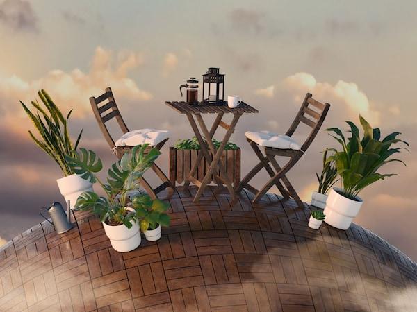 Un ensemble de patio sur la planète terre