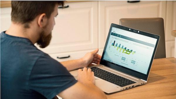 Un homme barbu regarde la consommation d'énergie sur un ordinateur portable à la table de la cuisine.