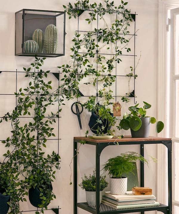 Un jardin mural composé de plantes artificielles attachées à des sections de panneau en fil métallique, entouré par des plantes naturelles et artificielles.