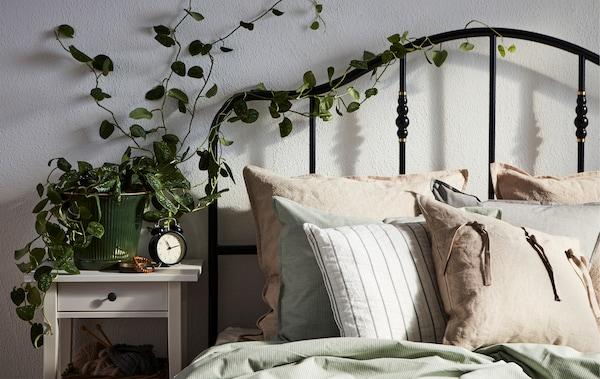 Un lit éclairé par le soleil avec une tête de lit à barreaux autour de laquelle s'entrelace du lierre provenant d'un pot placé sur la table de nuit.