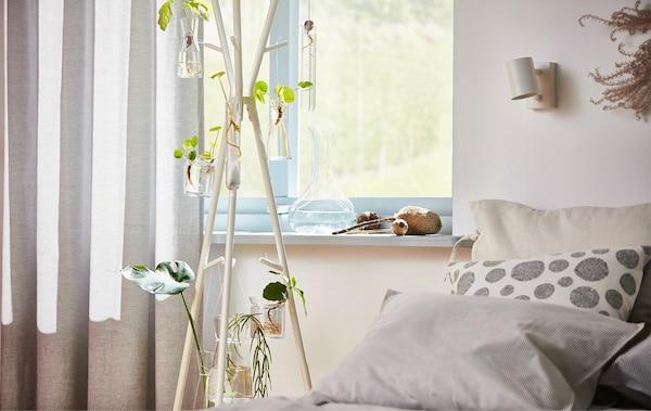 Un perchero EKRAR decorado con brotes germinados en casa delante de una ventana.