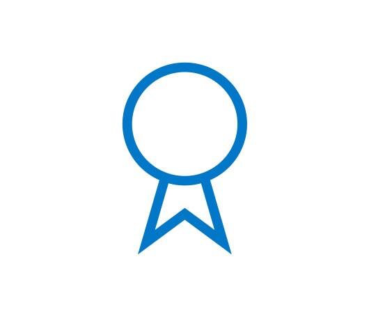 Un pictogramme bleu d'un badge de récompense bleu.