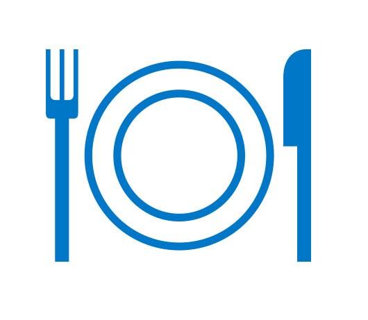 Un pictogramme bleu d'un couvert avec une fourchette, une assiette et un couteau.
