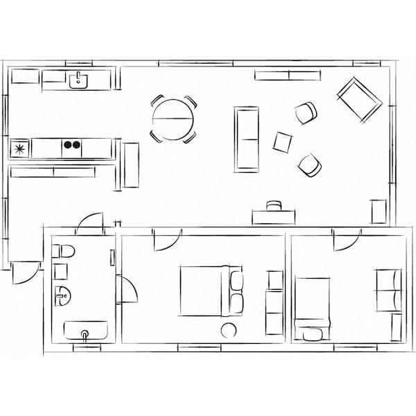 Un plan au sol en noir et blanc de l'appartement de style champêtre indiquant l'emplacement des meubles.