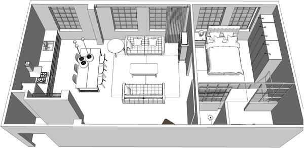 Un plano 3D del apartamento.