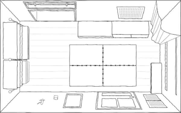 Un plano de planta de un pequeño recibidor de 5.6 metros cuadrados.