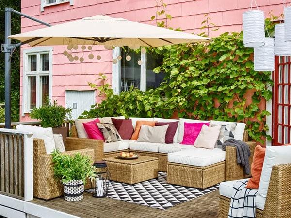 Decoraci n de terrazas ikea for Cortinas para terrazas exteriores