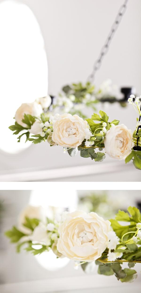 Una ghirlanda di fiori bianchi e verdi - IKEA