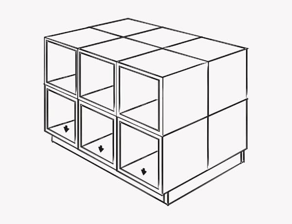 Una ilustración que muestra cómo atornillar la base de la isla a la estructura.