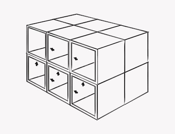 Una ilustración que muestra cómo deben atornillarse los armarios METOD para formar la base de la isla.