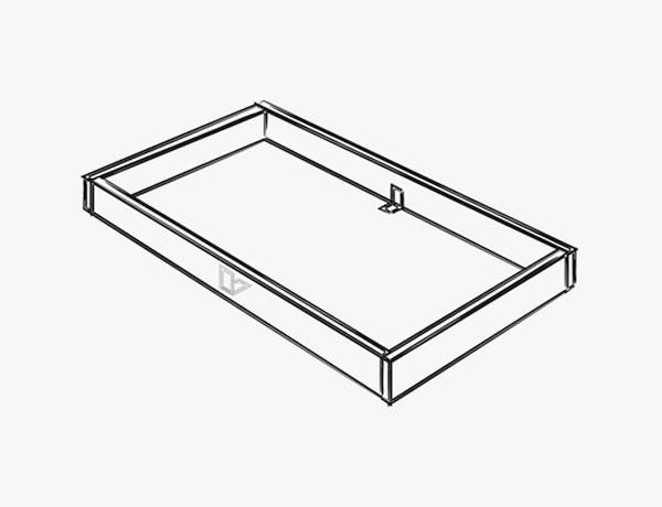 Una ilustración que muestra cómo montar la estructura de una isla de cocina.