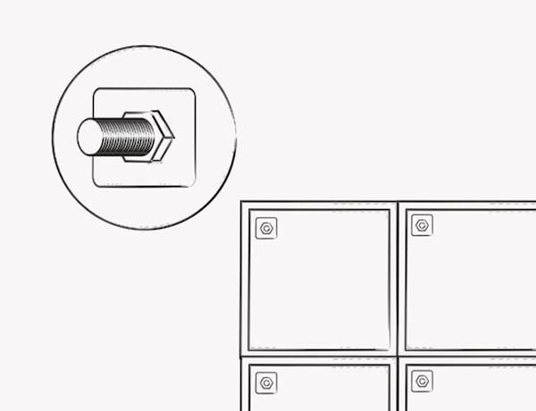 Una ilustración que muestra dónde atornillar los armarios para conectar las dos mitades de la base de la isla.